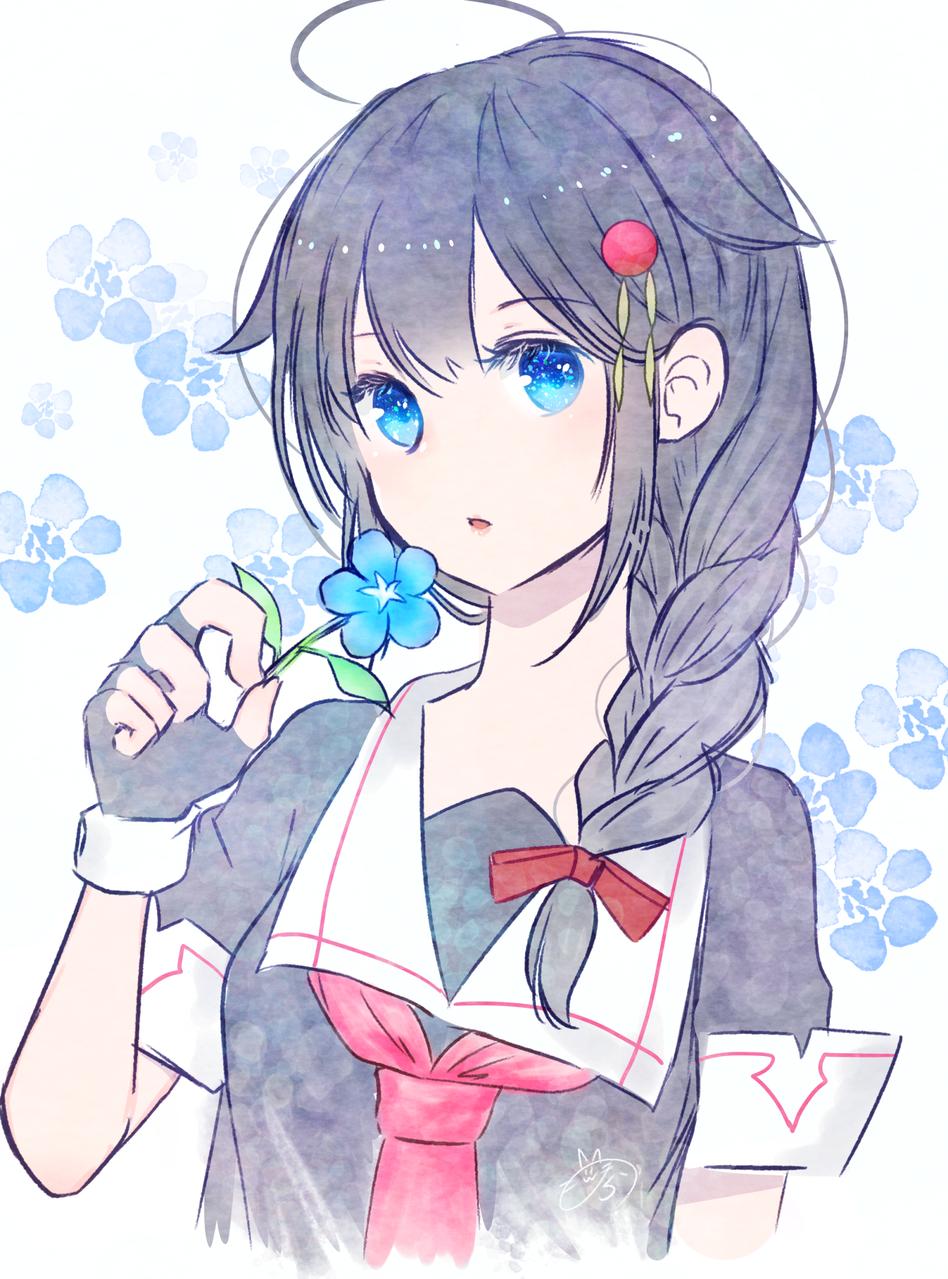 時雨と青い花 Illust of nora medibangpaint girl sailor_uniform 時雨 KantaiCollection flower