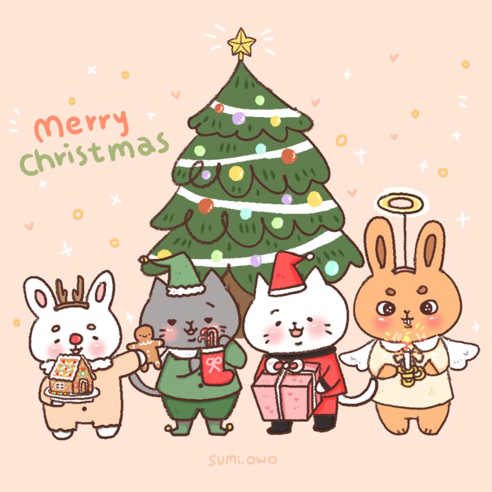 🎅 Merry Christmas🎄 Illust of Sumi December2020_Contest:Santa illustration MyArt cat Artwork artist art rabbit MerryChristmas Christmas medibangpaint