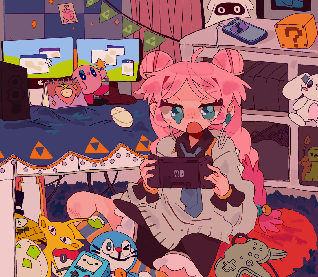 (COMMISSION) game over :( Illust of D3ed_Girl blue commission gameover Kirby cutegirl cute MyArt room
