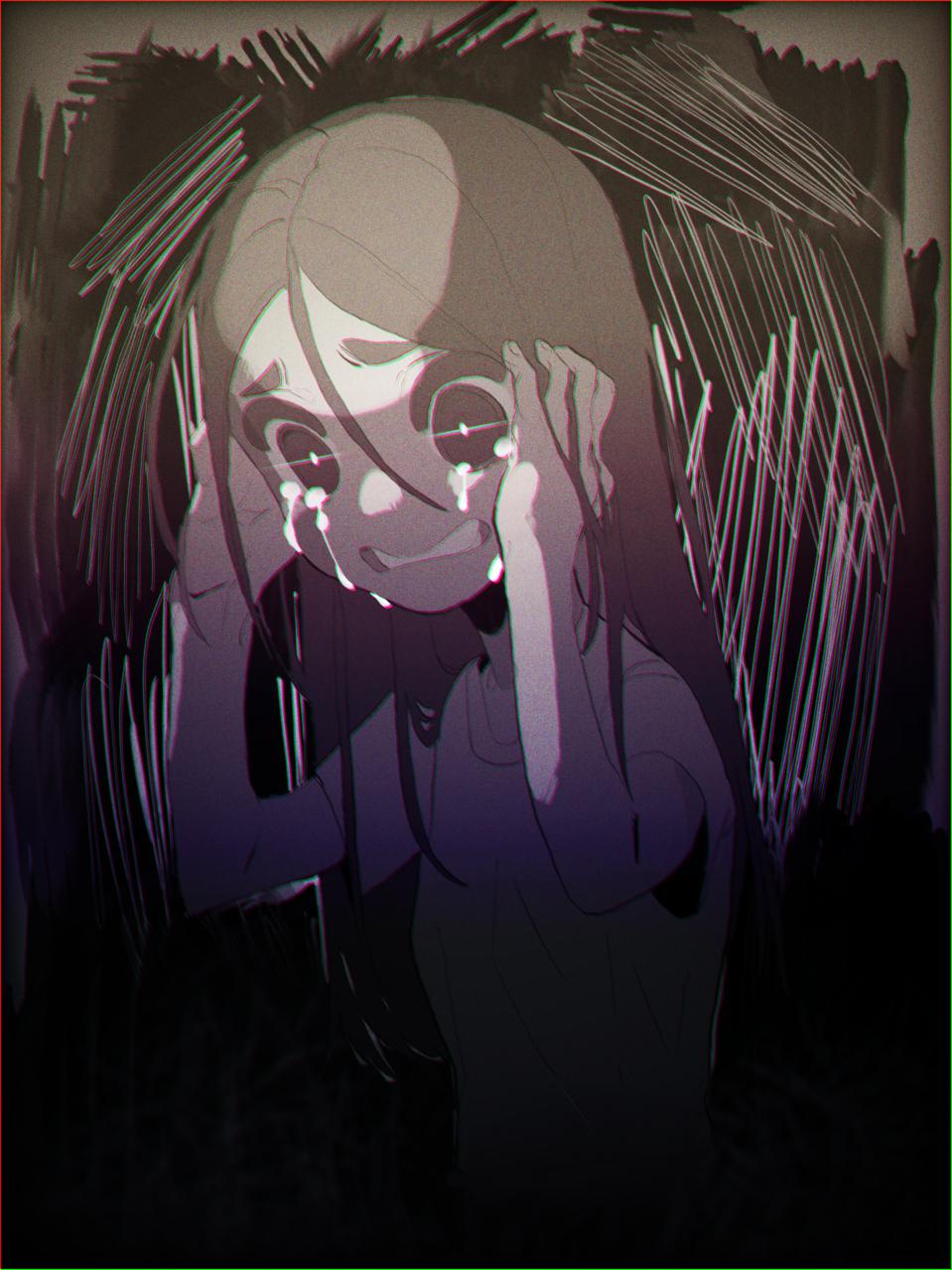 ALONE  Illust of StarWings alone girl tears