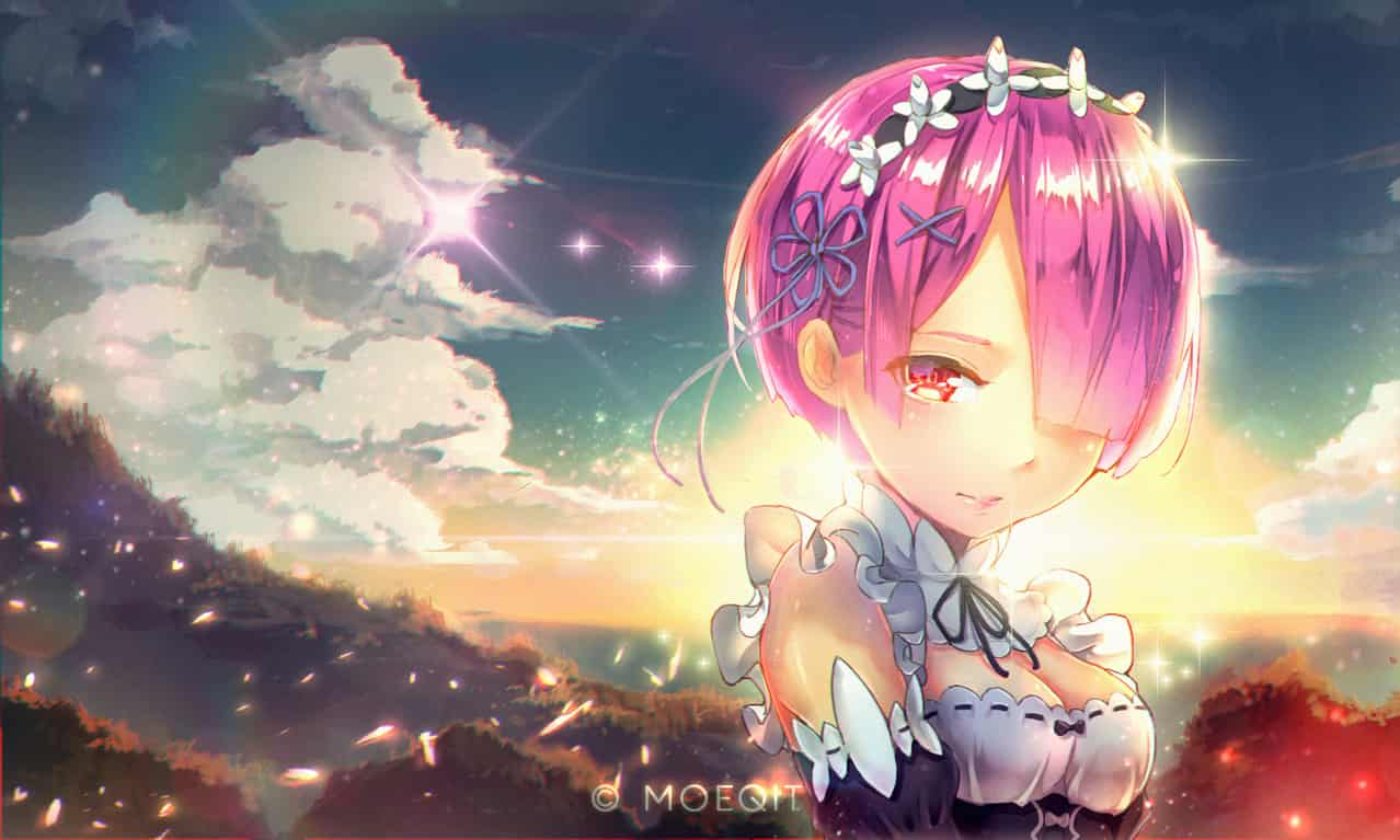 RAM Illust of Moeqit witch waifu demon ram sunset fanart maid shorthair pinkhair animegirl