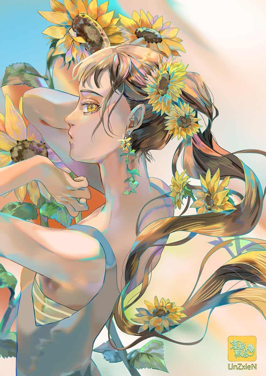 向日葵與馬尾 Illust of 凜紙械恩 original girl ponytail summer flower