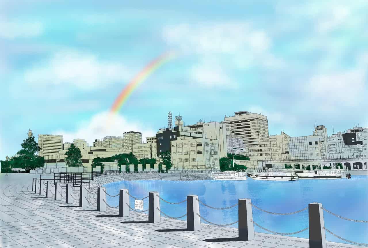 横浜の港塗り絵 Illust of chiwo BackgroundImageContest_Coloring_Division Background_Image_Contest ぬりえ sky 港 rainbow background 横浜