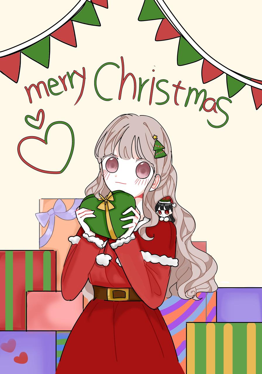 메리크리스마스🎄🎅 Illust of 닯인❣ medibangpaint painting 달빈 합작 Christmas girl 바닐라팀 기념