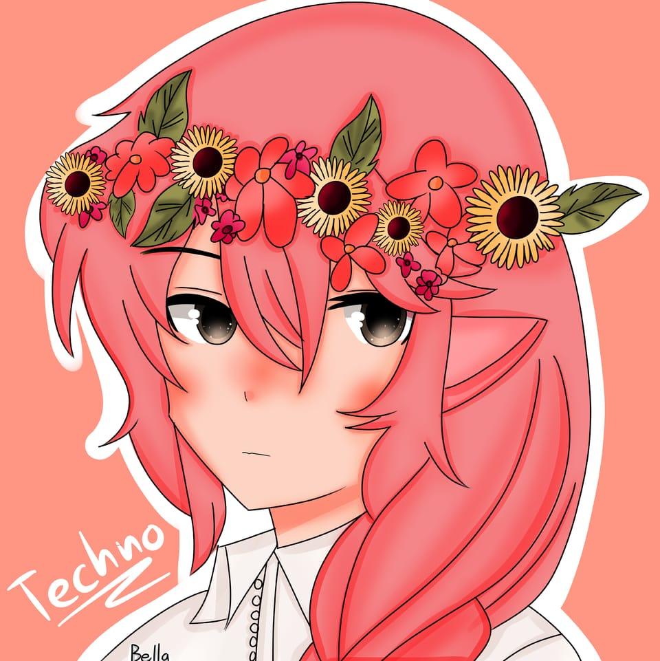 🌺Flowers for the Blood God🌺 Illust of ꜱᴀᴘᴘʏʙᴇʟʟᴀ • ꜱᴀᴘɴᴀᴘ ᴍᴏᴅᴇ©️ flowers pink technoblade pig MCYT red thisartshouldlvlup techno Sunflowers