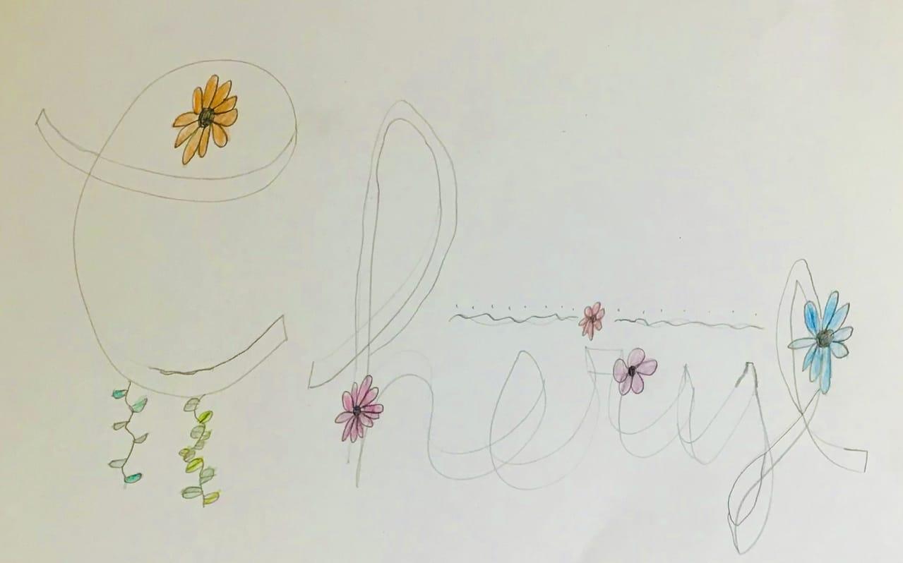 Name sketch-part 2(3D effect+floral design) Illust of Cheryldino