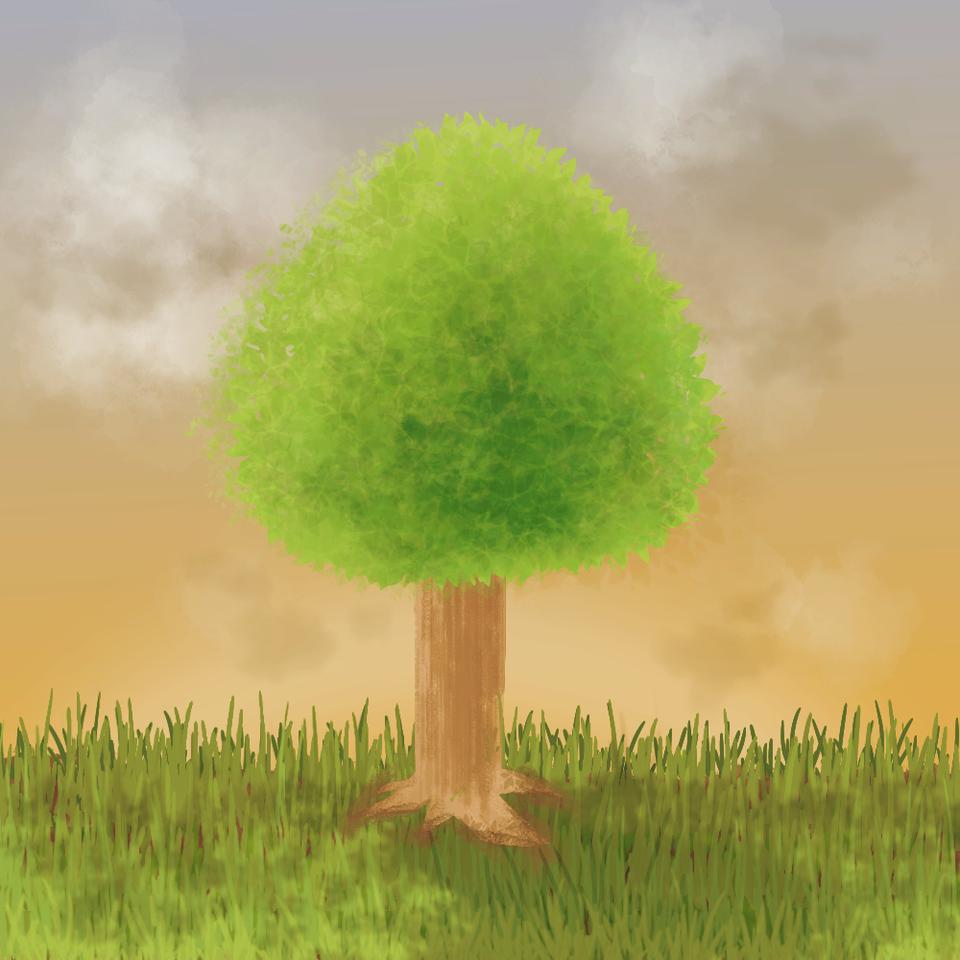 노을지는 풍경(나뭇잎브러쉬 응용)