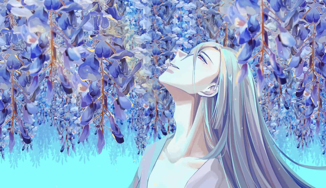 紫藤花 Illust of 渊目-ritsu April.2020Contest:Color 同人 blue 阴阳师手游 flower illustration Onmyoji Onmyouji