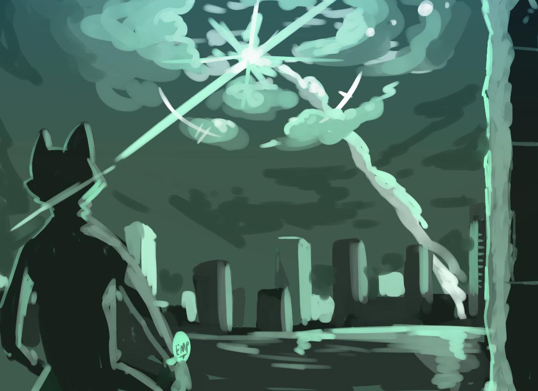 5j/ u0  Illust of 肯尼吉 獸人 background cyberpunk furry