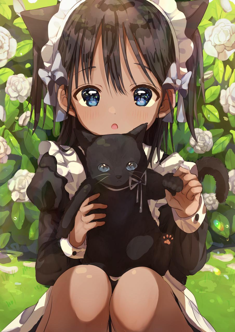 くろねこ Illust of Peach☆Punch DOGvsCAT_CAT girl maid 褐色肌 黒髪 cat cat_ears
