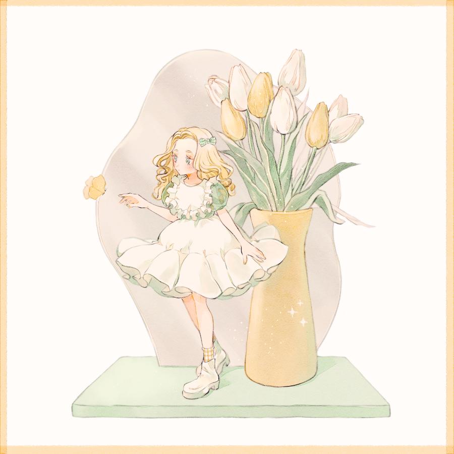 Spring visitor Illust of 緑乃 April2021_Flower 春 チューリップ original girl 蝶々