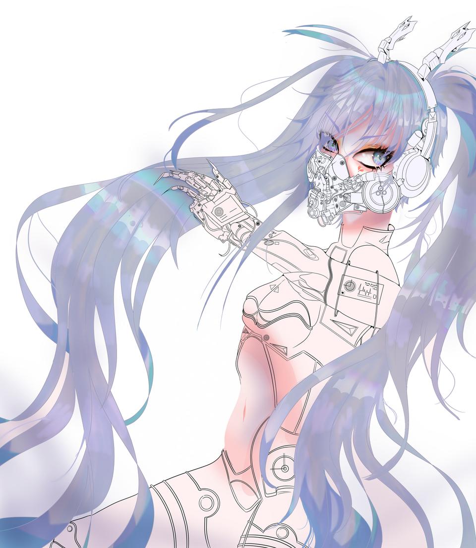 part 2  Illust of Eminoa medibangpaint line_art girl uncompleted realistic anime blue WIP