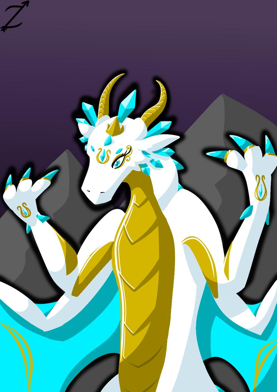 Goddess Lineless Art Illust of Zyvra Dragonfyre medibangpaint light lego dragon bright gold goddess radiant diamond crystal lineless