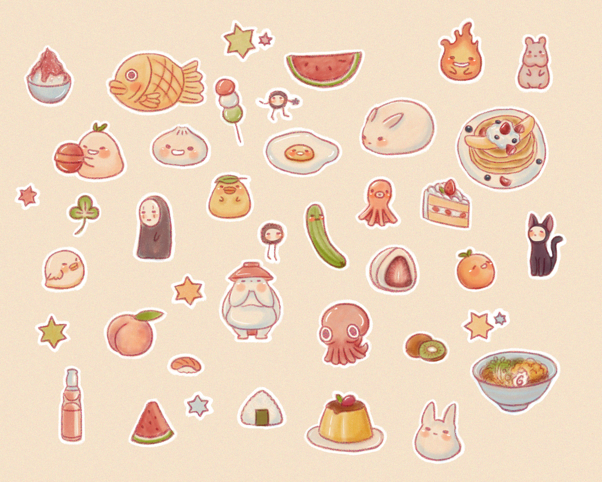 Food stickers Illust of Jiayi October2020_Contest:Food japanese anime caked noodles food cute dessert