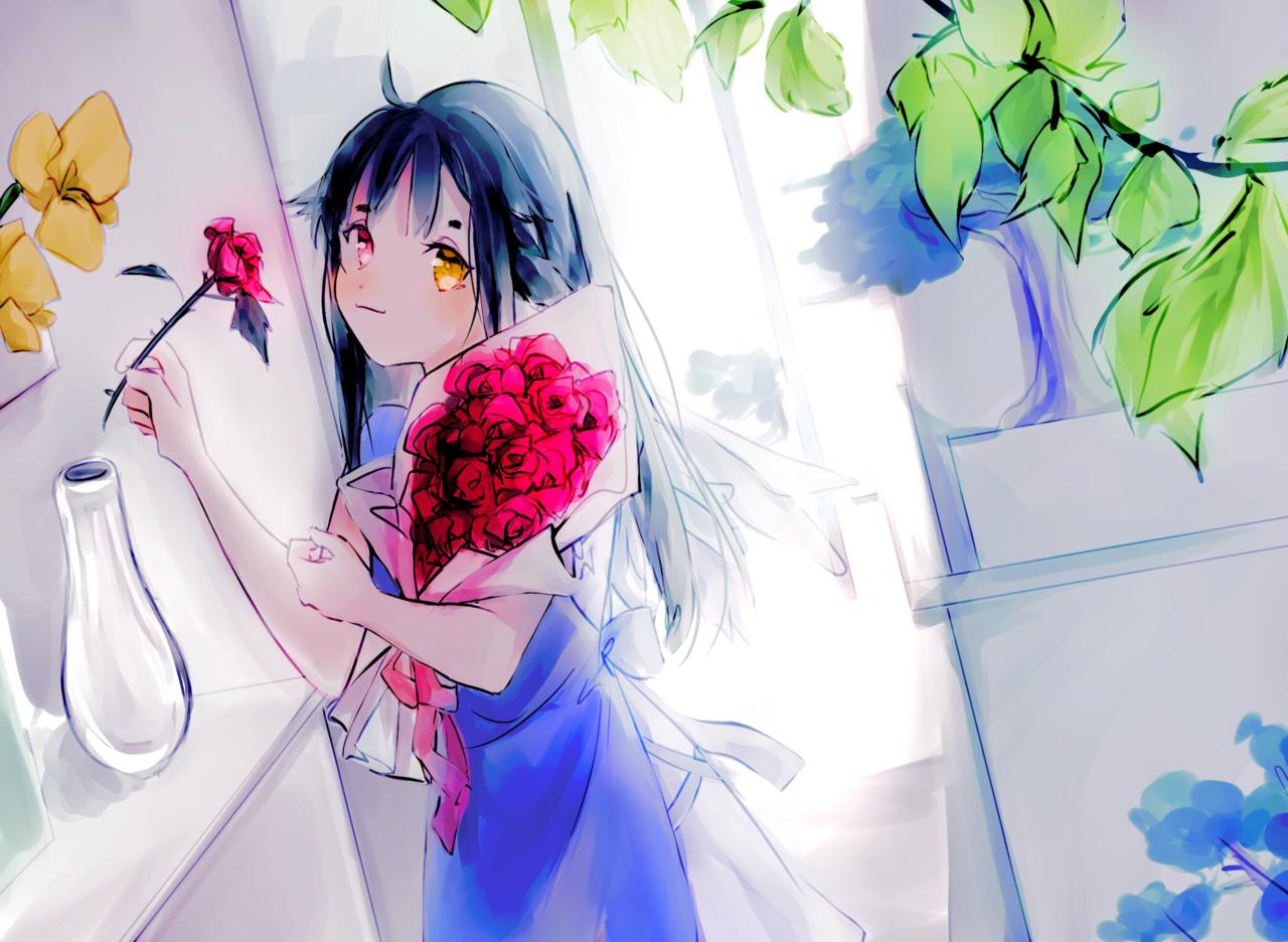 OC - Aily Illust of Yuurei鬼 impasto flower painting oc art illustration girl portrait original woman