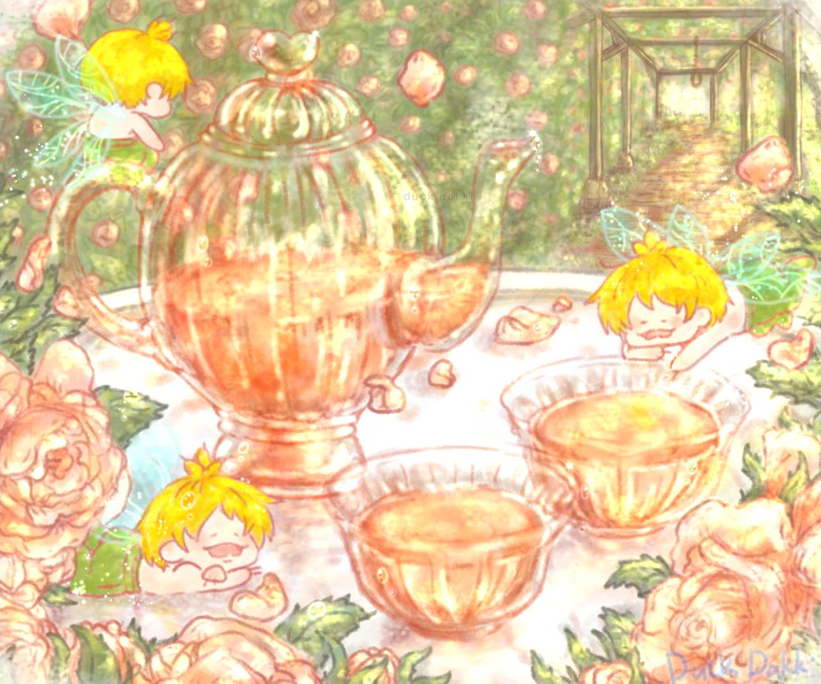 妖精のティータイム Illust of あひるのダッキー rose impasto 風景画 fairy 春 ティータイム scenery