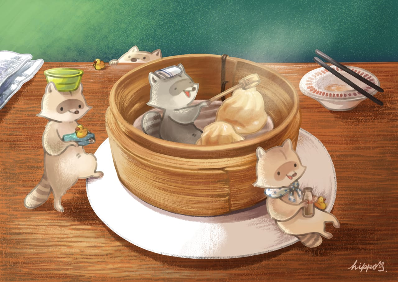 サウナ Illust of ヒポポンゴ food animal Raccoon oc 小籠包