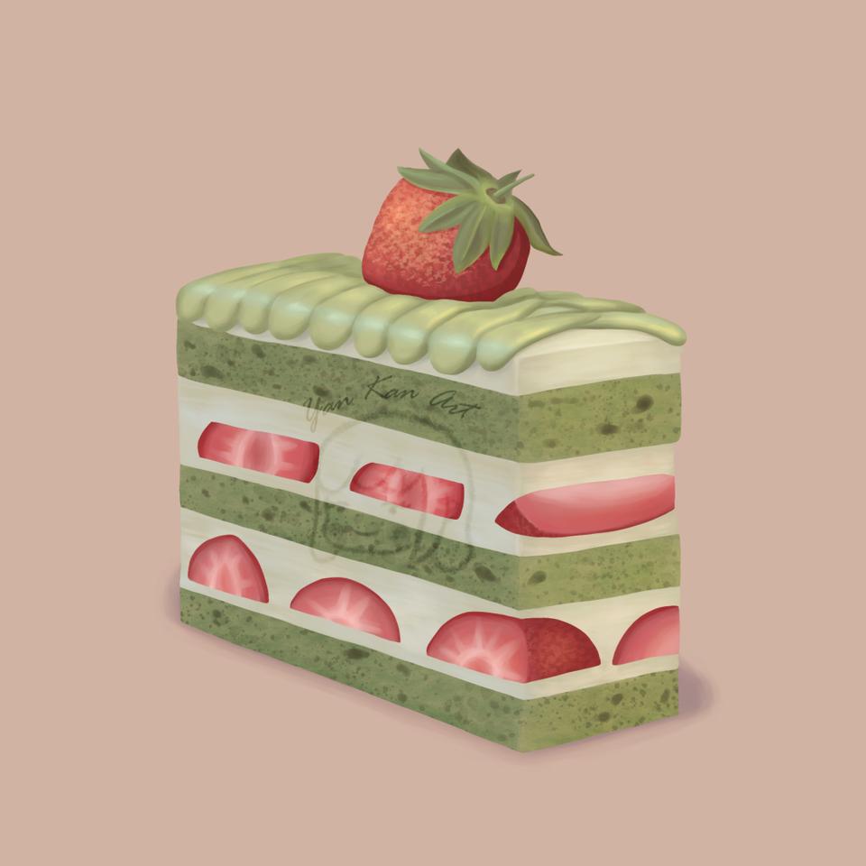 Strawberry & matcha cake Illust of Yan cake sweet yummy strawberry food matcha dessert