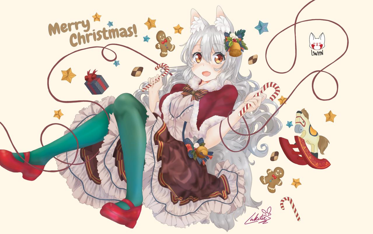 Merry Linkixmassss Illust of Linkitinart dec.2019Contest ケモミミ Christmas