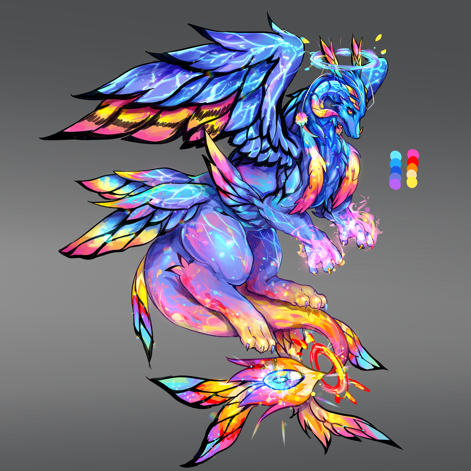 Design Illust of Mirage/미라쥬 fantasy dragon flower blue black white butterfly creature design red wings