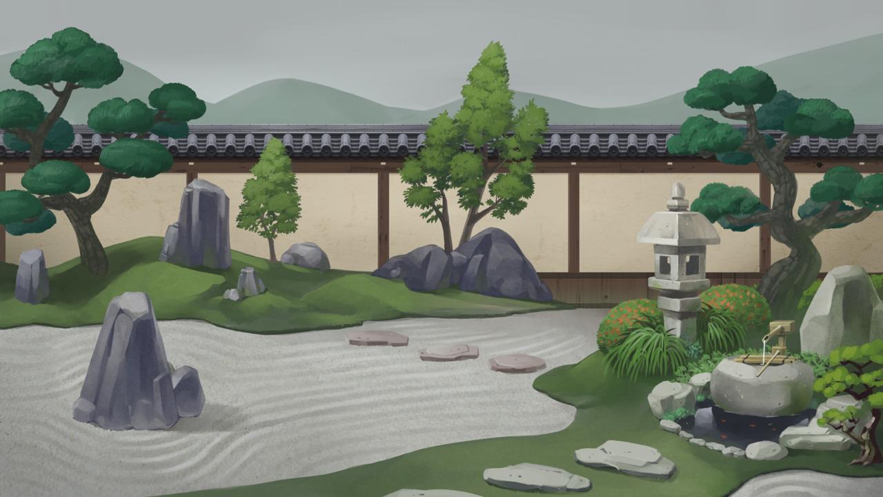 日本庭園(昼・曇り空) Illust of カイセイ background Japanese_style 背景イラスト original 日本庭園
