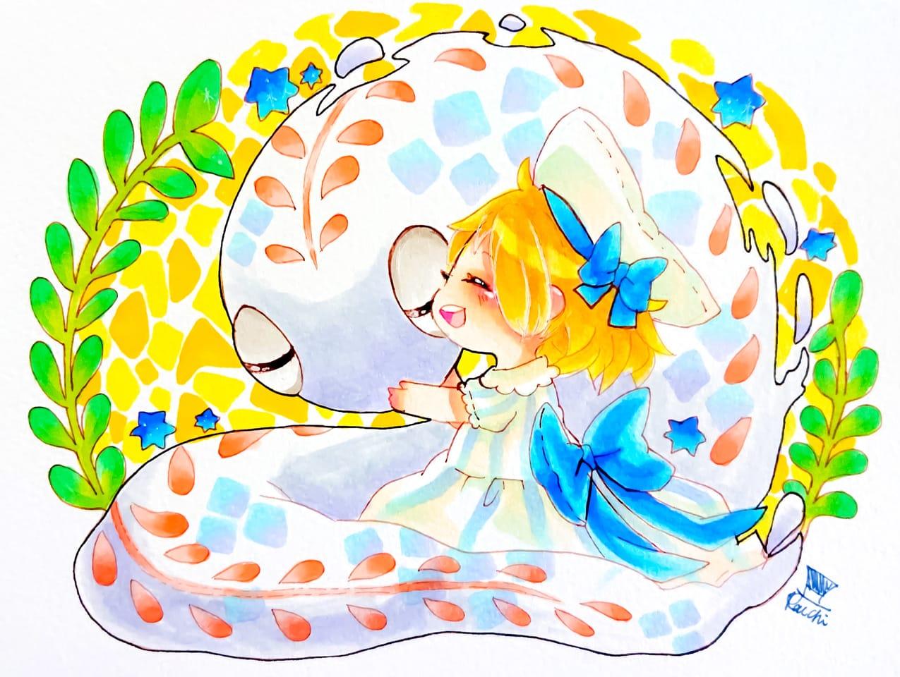 白蛇と少女 Illust of 天草ライチ oc girl Copic