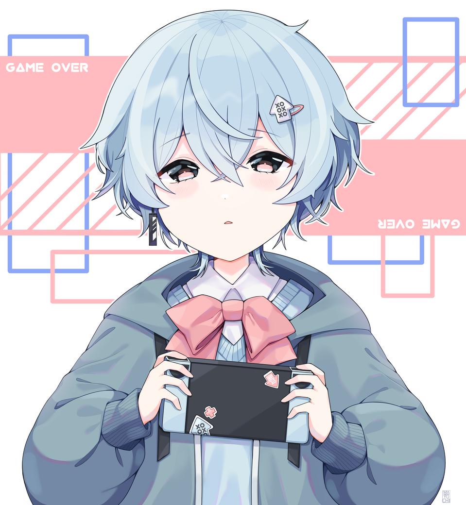 game over //reupload Illust of Chi medibangpaint original blue oc anime videogame boy