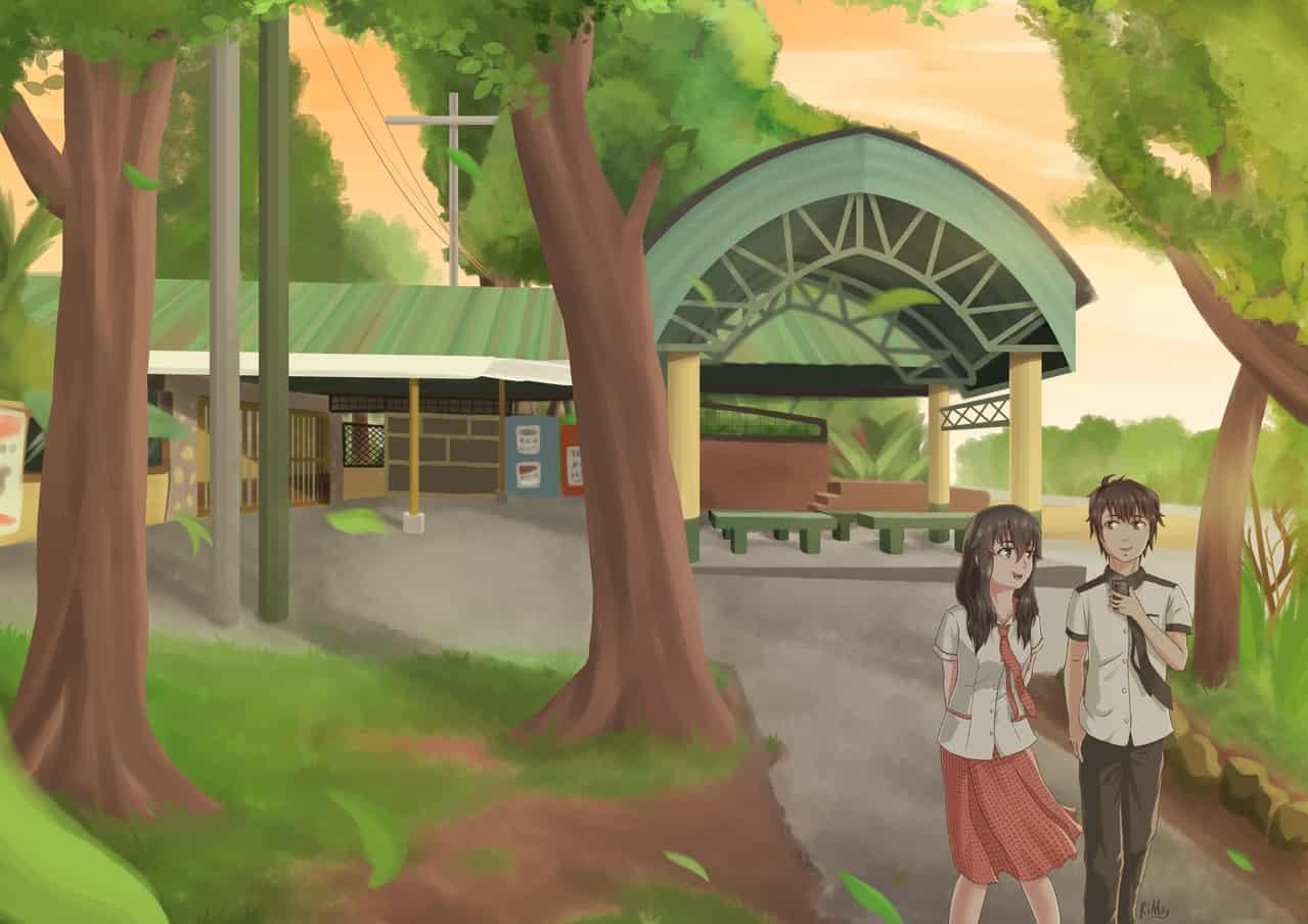 Walk Illust of Ki Moy school uniform TupiNHS sunset Tree Walk