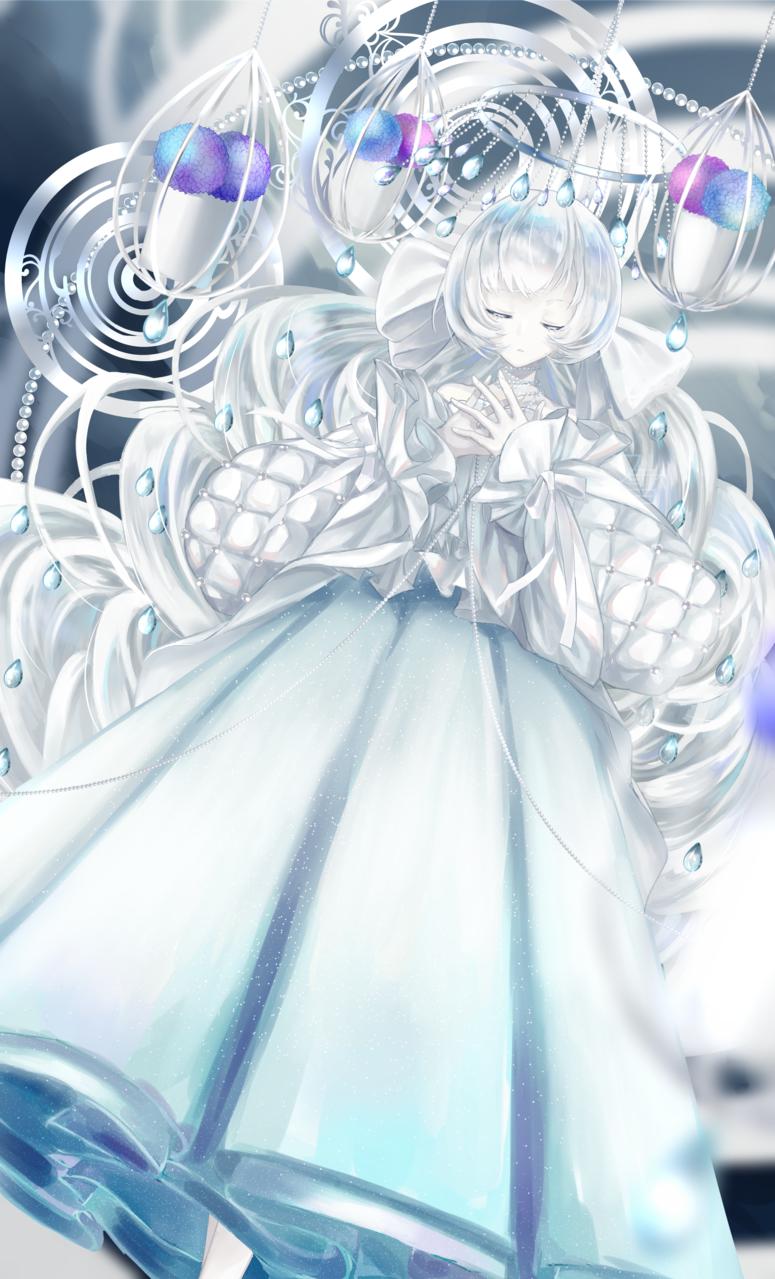 てるてる妖精 Illust of フ雪 illustration Personification hydrangea oc 水色 girl 梅雨 rain original