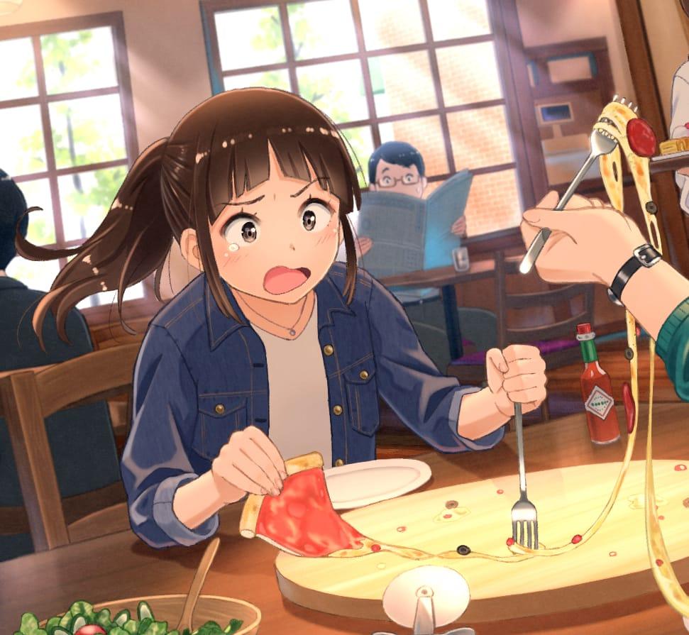 すべり落ちたチーズを全部もってかれた女の子 Illust of TAKA boy girl ピザ original