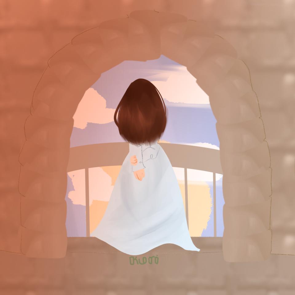 Sitting in the castle Illust of DreamiiKuri | Drèam mode©️ oc drawing animeart animegirl anime thisartshouldlvlup lineless