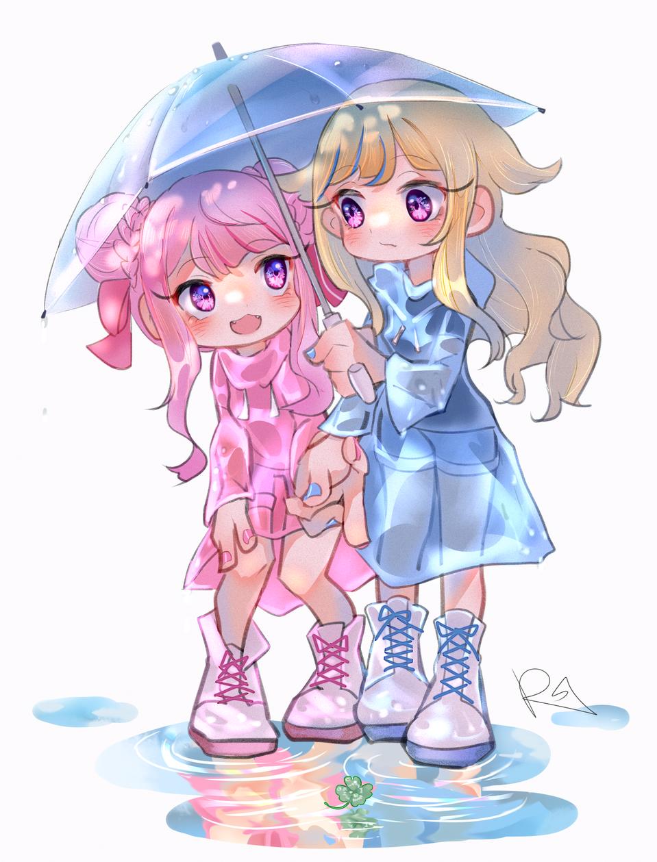 雨デート Illust of RSazu art 百合 ヒメヒナ yuri drawing himehina virtual_YouTuber