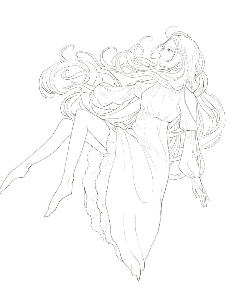 宙に浮かぶ Illust of 熊谷ユカ oc 儚い girl おしゃれ dress ロングヘア original 透明感 hair kawaii