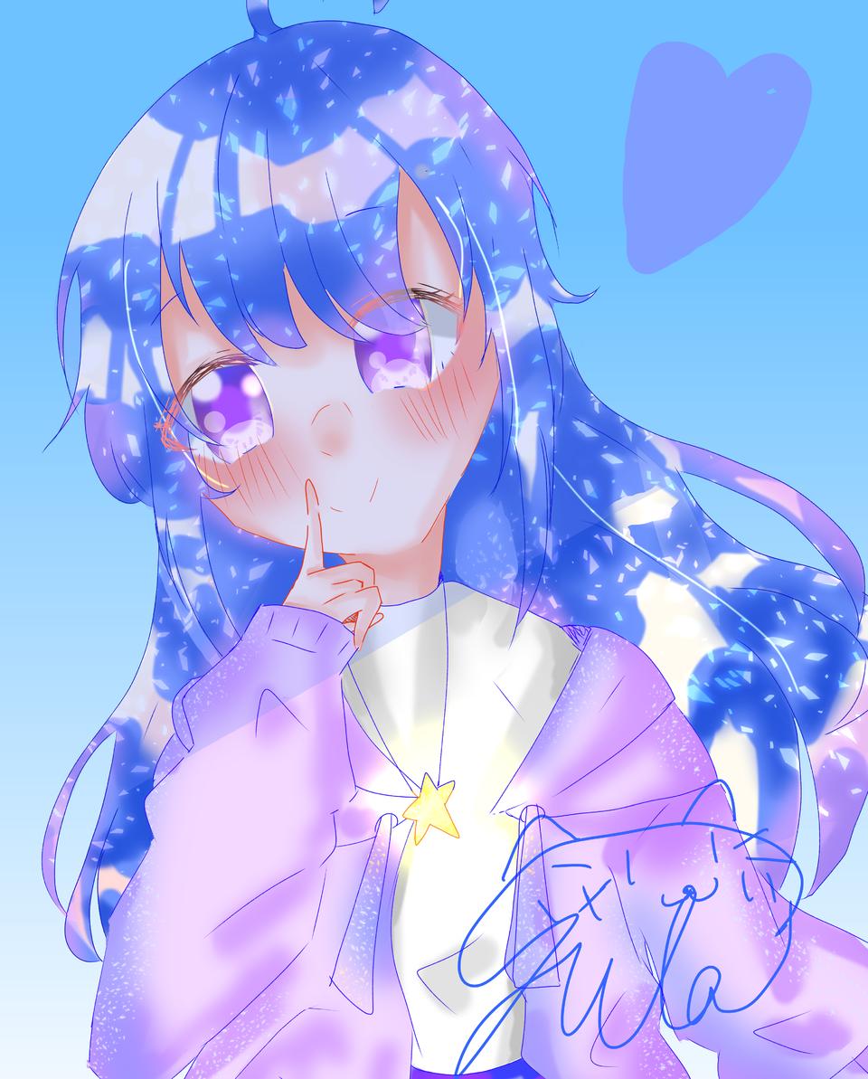 しーっ(再投稿) Illust of 空星ゆら 頑張った girl キラッキラ kawaii オムライスうまうま