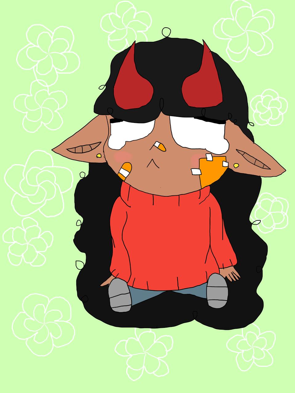 exams... Illust of Lil devil chibi cute