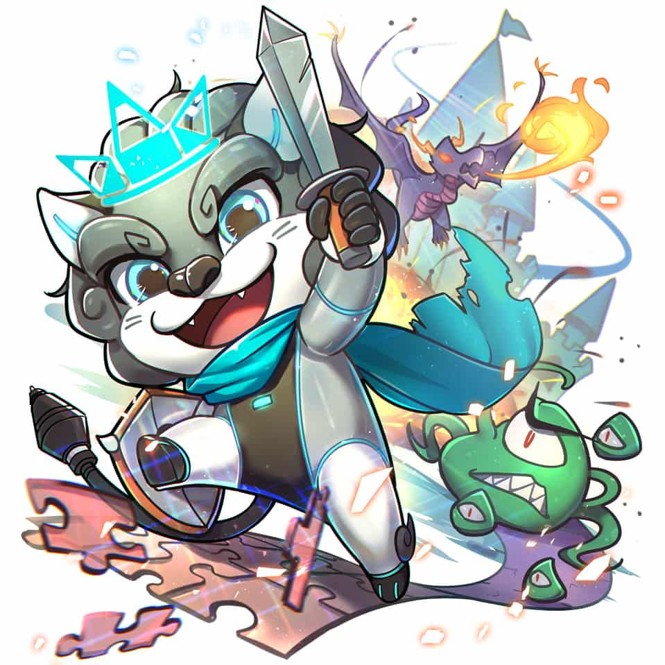 Leon's Dungeon Raid Illust of Moeqit fantasy HuionDesign chibi colorful game cute illustration leon monster rpg