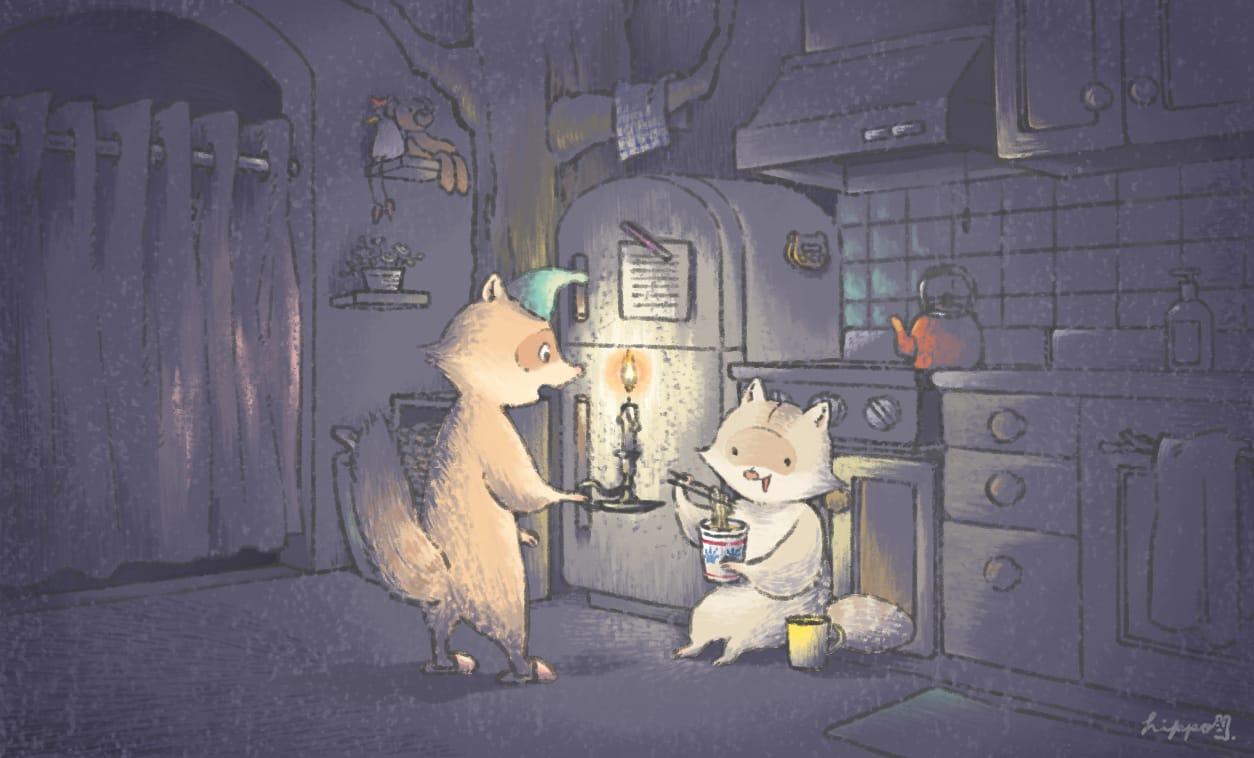 スポットライト Illust of ヒポポンゴ Raccoon animal Ramen oc キッチン