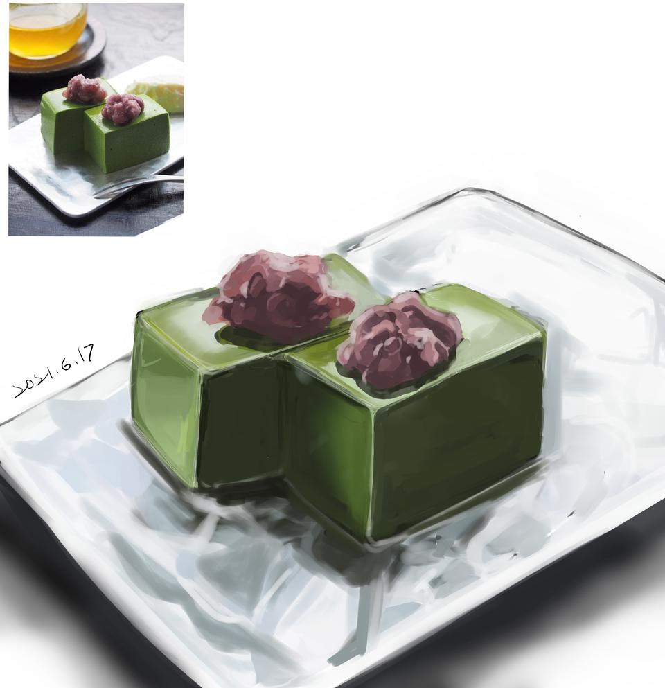 抹茶蛋糕(?)臨摹 Illust of 褲褲 模写 food illustration WIP medibang 抹茶 illustrations