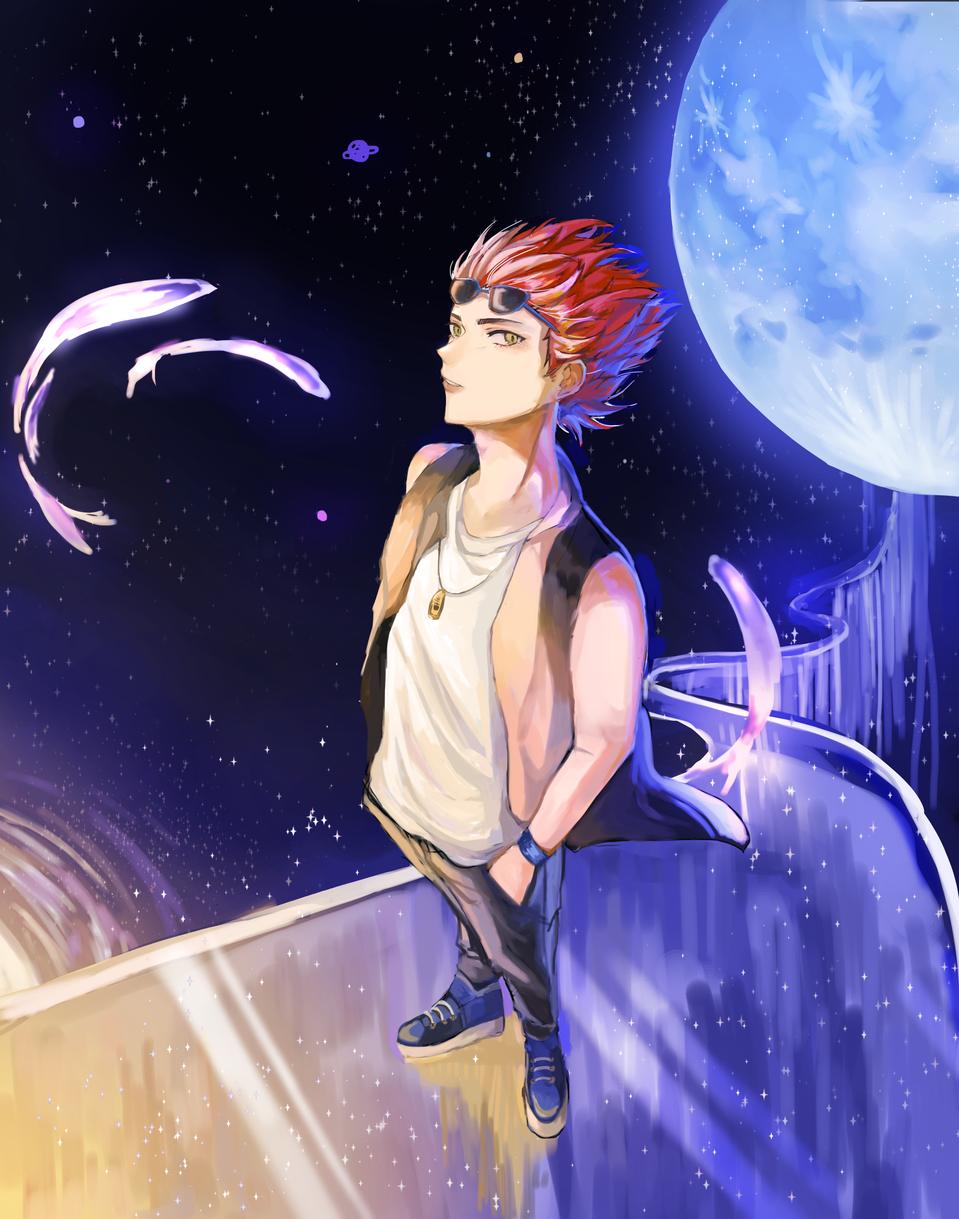 藍月 Illust of janejane medibangpaint moon 電繪 boy space 科技 medibang