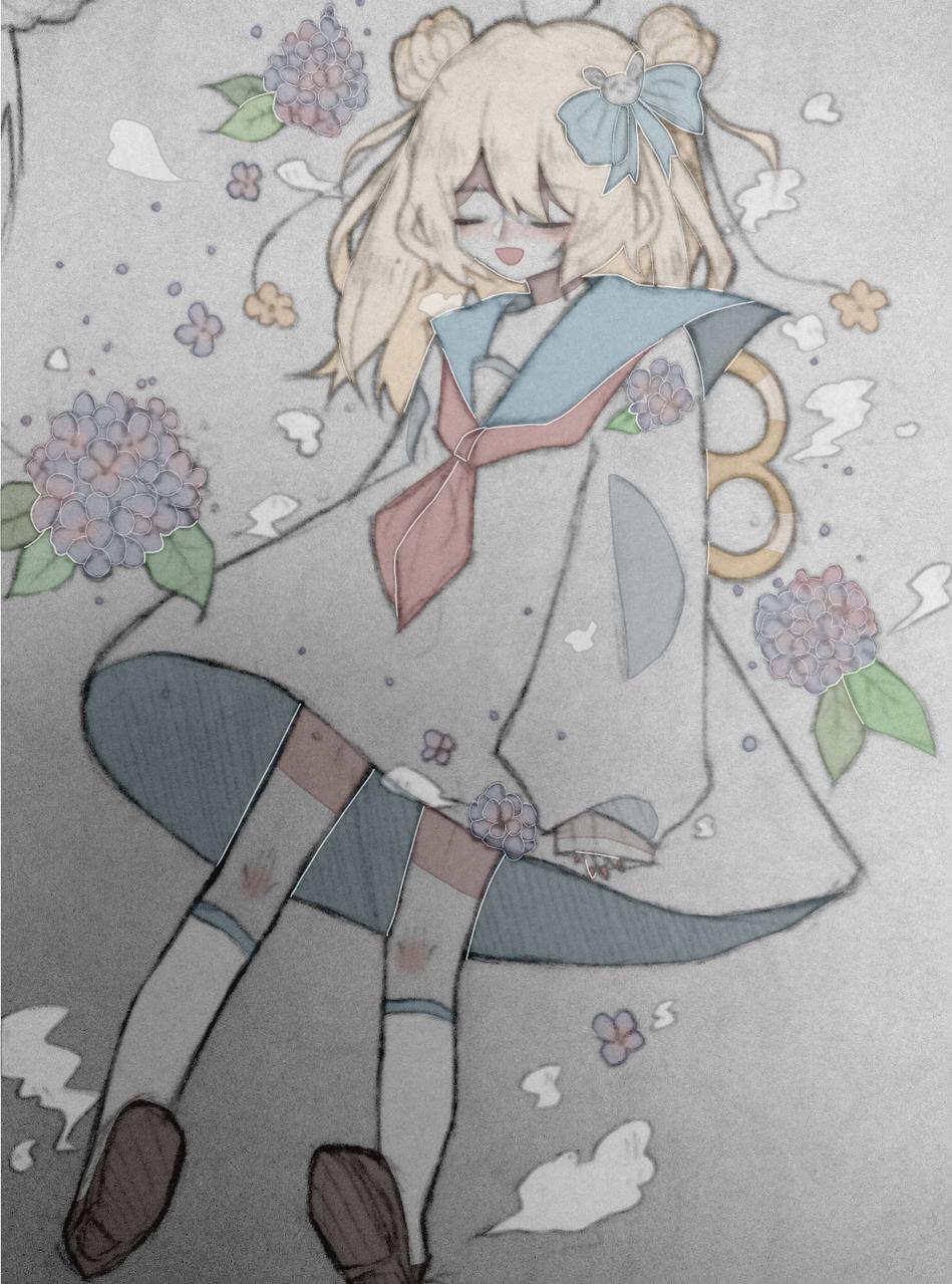『草莓味繡球氣泡水和糊塗的兔子.』 Illust of 桜庭花莓. medibangpaint