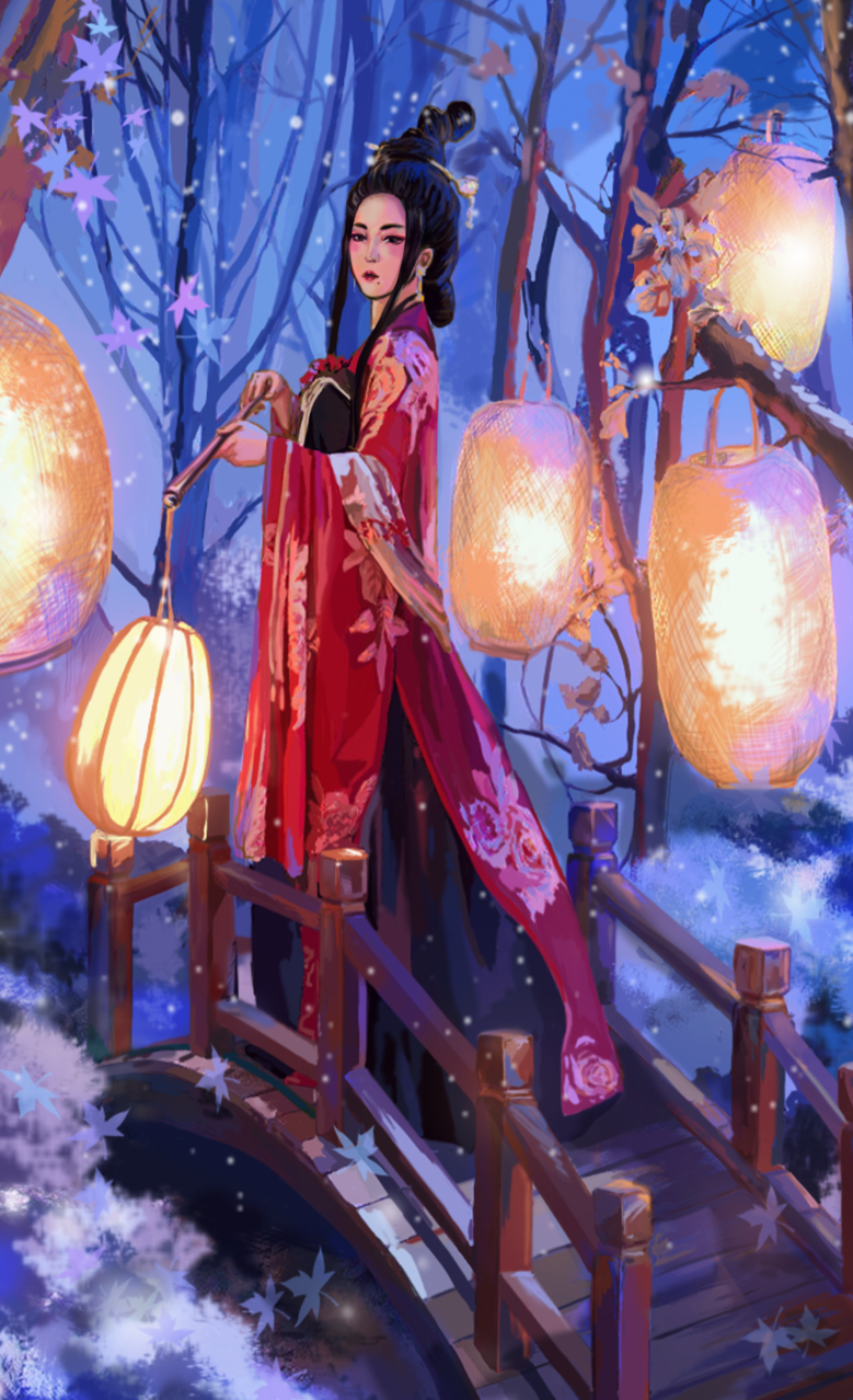Midnight Illust of Hanna Bui HumanAcademy_2019 girl Japanese_style style uniform kimono traditonal manga