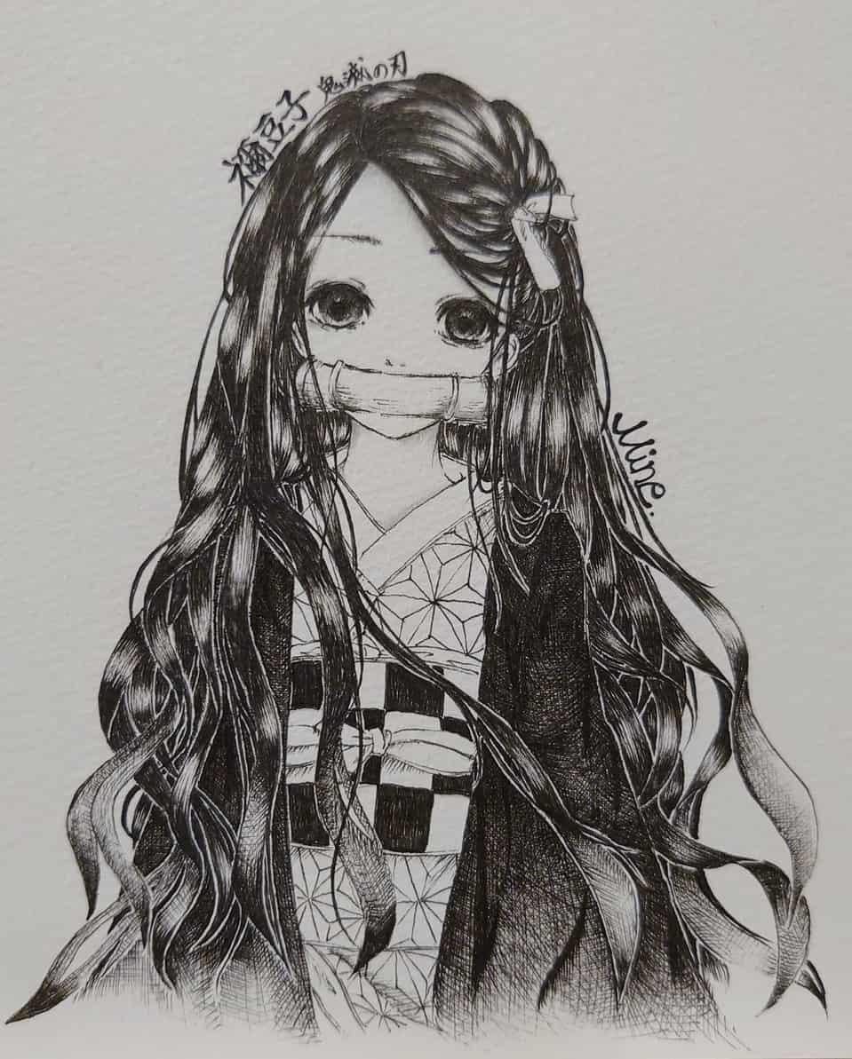 禰豆子ちゃん Illust of Mine DemonSlayerFanartContest 黒髪 KamadoNezuko kimono モノクロイラスト kawaii original girl KimetsunoYaiba blackandwhite おんなのこ