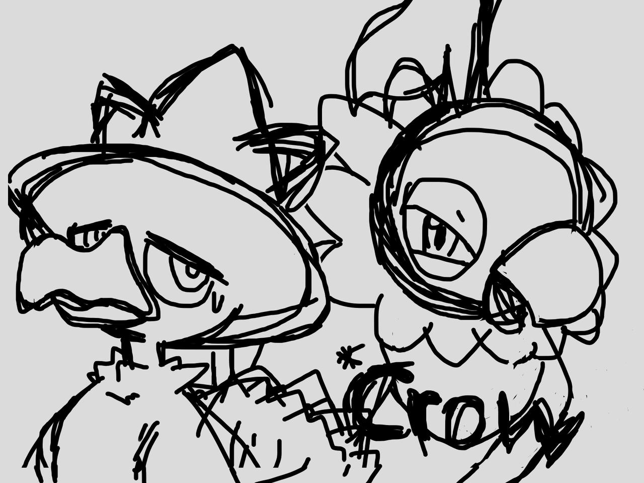 Chatot And Murkrow Illust of PepeArt Post_Multiple_Images_Contest game fanart ペラップ green medibangpaint original ヤミカラス pokemon