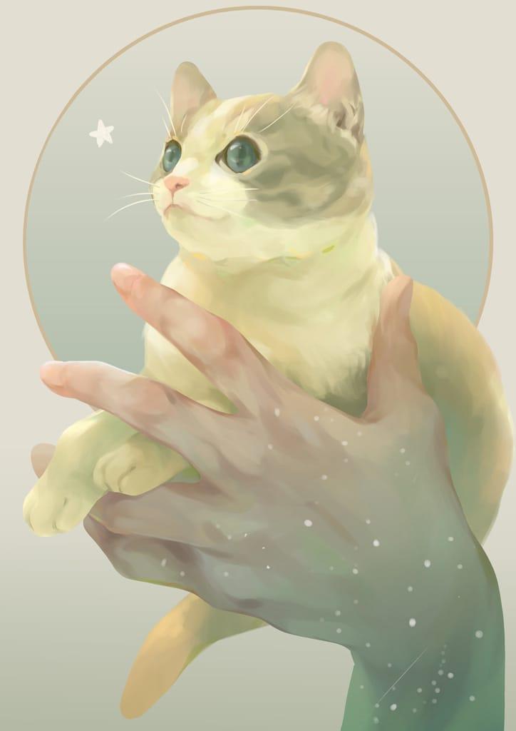 手のりねこ Illust of 砂虫隼 生き物 animal hand original cat medibangpaint