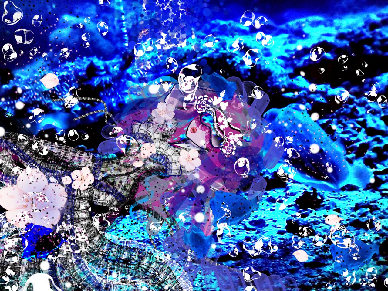 Princess of the ocean Illust of Grandicelli Susanna July2021_Swimwear June2021_Anthropomorphism skirt Oceano pesce digitale costume Principessa pittura
