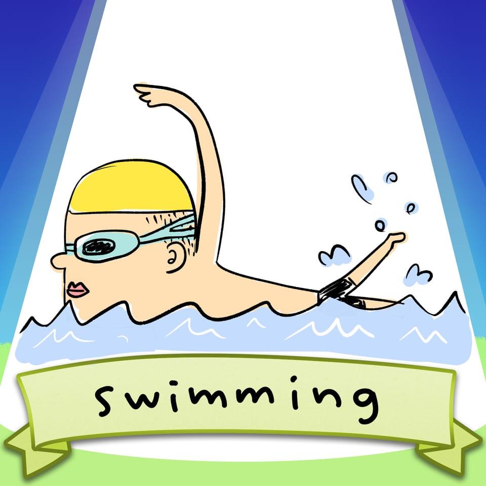 swimming  Illust of ぬー太郎 SoBadItsGood swimming クロール sideface 水泳 自由形