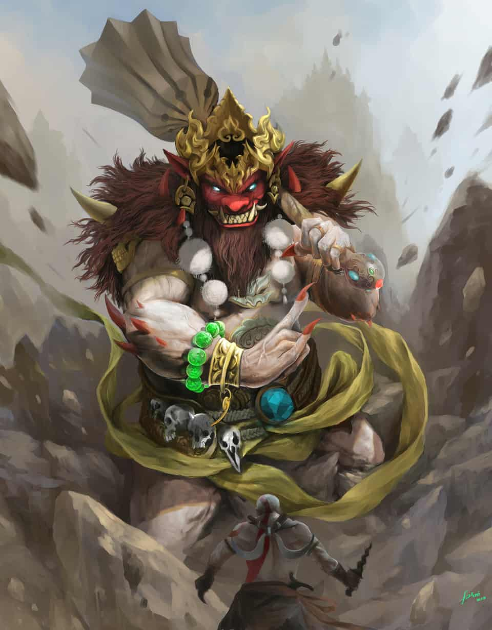 Rakshasa/buto vs Kratos Illust of sandkuwng Godofwar fanart Kratos giant illustration Culture
