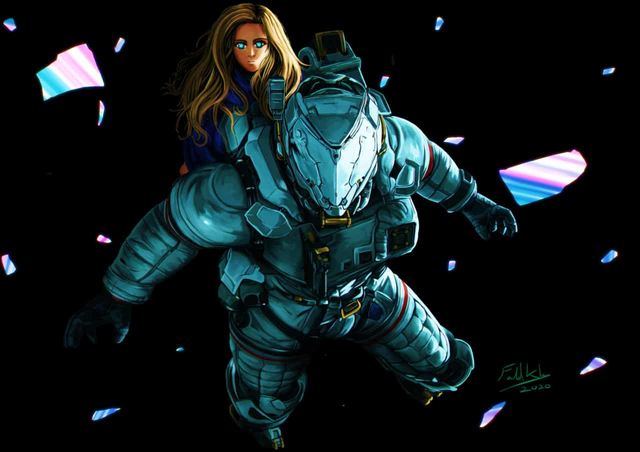 Pragamata Game fanart Illust of FahdKhn88 sci-fi blue capcom girl game anime space fanart sad manga illustration