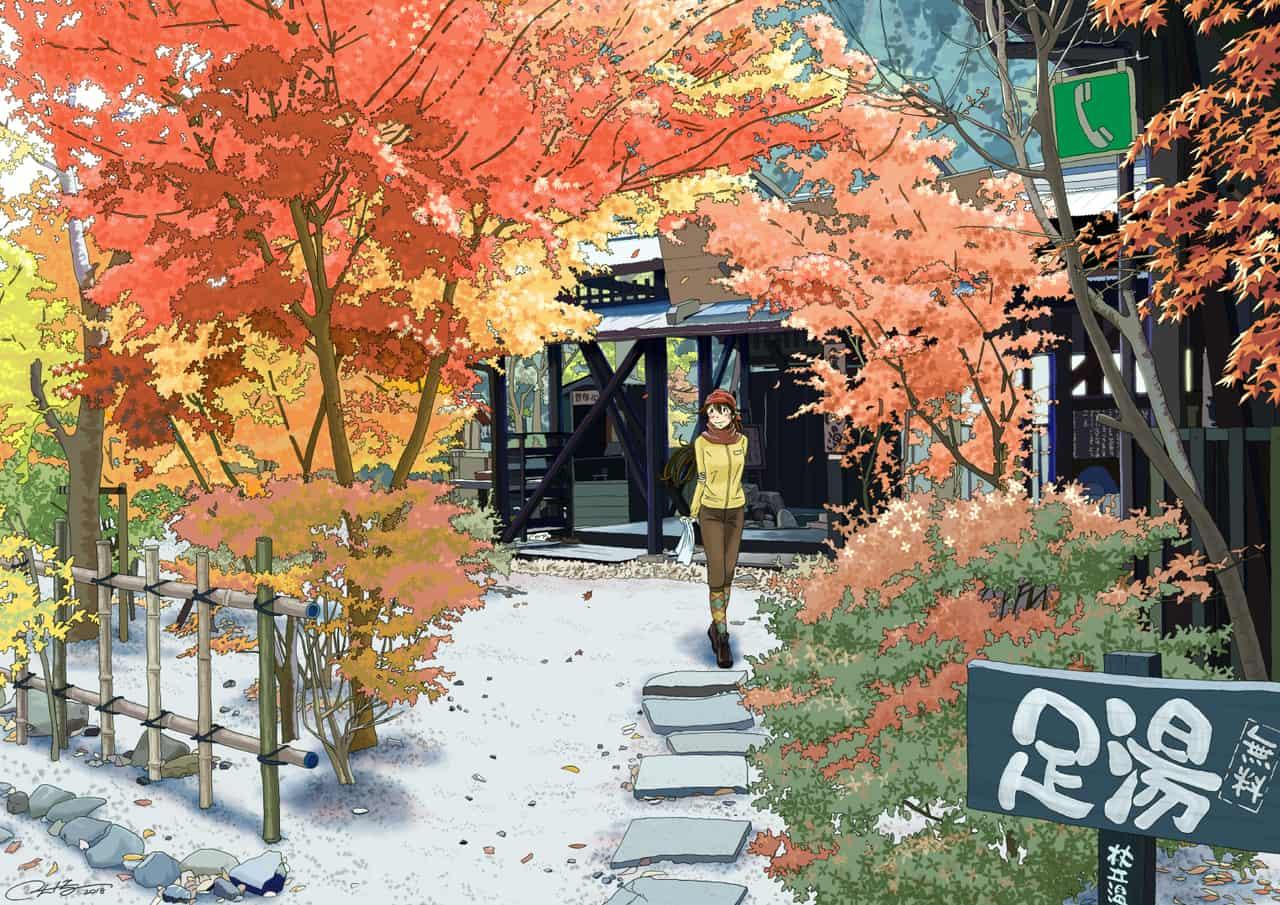 足湯 Illust of ふじいえだいご autumn 紅葉 scenery background