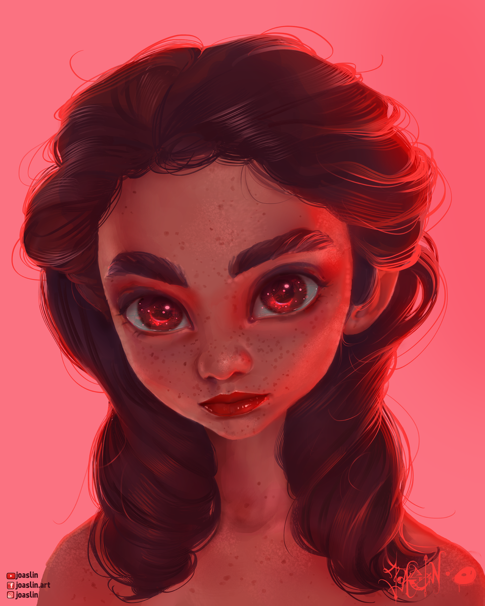 RED ❤️ Illust of JoAsLiN ARTstreet_Ranking art Freckles girl red manga original illustration eyes oc cute